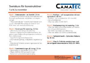 Svetskurs för konstruktöre. Camatec Västerås 2017.sida2